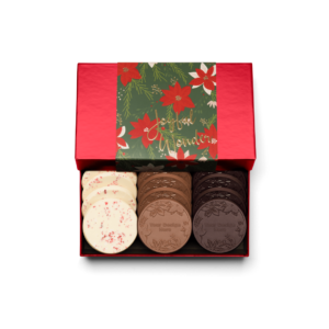 Personalized Holiday Crimson Poinsettia 12 Cookie Set with Peppermint Bark, Milk Chocolate, Dark Chocolate Cookies in Red Packaging