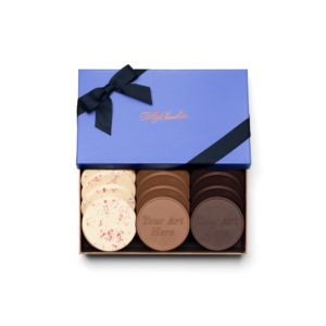 Personalized Signature Signature + Your Design 12 Cookie Set with Peppermint Bark, Milk Chocolate, Dark Chocolate Cookies in Signature Blue Packaging