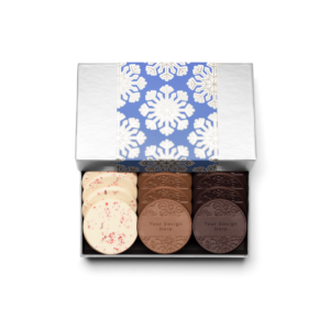 Personalized Holiday Shimmering Snowflake 12 Cookie Set with Peppermint Bark, Milk Chocolate, Dark Chocolate Cookies in Silver Packaging