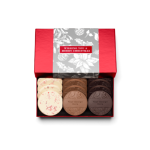 Personalized Holiday Silver Frost 12 Cookie Set with Peppermint Bark, Milk Chocolate, Dark Chocolate Cookies in Red Packaging