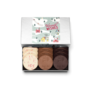Personalized Holiday Winter Village 12 Cookie Set with Peppermint Bark, Milk Chocolate, Dark Chocolate Cookies in Silver Packaging