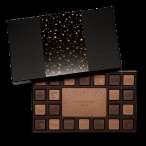 Personalized Appreciation Above & Beyond 23 Piece Ensemble with Milk & Dark Chocolate Border, Milk Chocolate Center Bar in Black Packaging