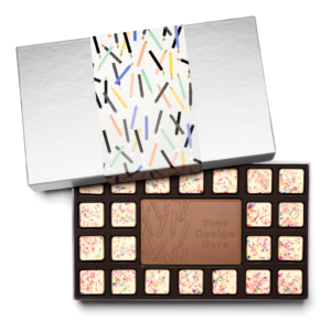 Personalized Birthday Big Birthday Wishes 23 Piece Ensemble with Cake & Sprinkles Border, Milk Chocolate Center Bar in Silver Packaging
