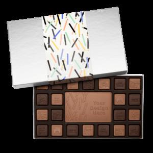 Personalized Birthday Big Birthday Wishes 23 Piece Ensemble with Milk & Dark Chocolate Border, Milk Chocolate Center Bar in Silver Packaging
