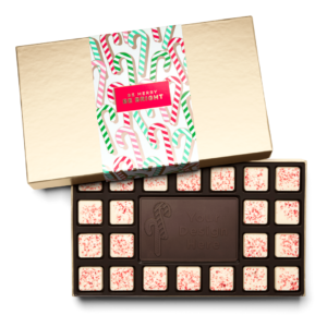Personalized Holiday Candy Cane 23 Piece Ensemble with Peppermint Bark Border, Dark Chocolate Center Bar in Gold Packaging
