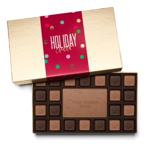 Personalized Holiday Cheers & Confetti 23 Piece Ensemble with Milk & Dark Chocolate Border, Milk Chocolate Center Bar in Gold Packaging