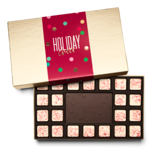 Personalized Holiday Cheers & Confetti 23 Piece Ensemble with Peppermint Bark Border, Dark Chocolate Center Bar in Gold Packaging
