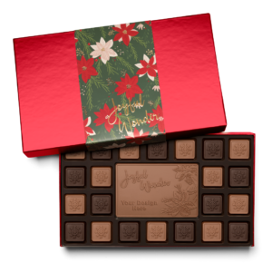 Personalized Holiday Crimson Poinsettia 23 Piece Ensemble with Milk & Dark Chocolate Border, Milk Chocolate Center Bar in Red Packaging