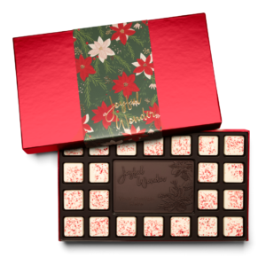 Personalized Holiday Crimson Poinsettia 23 Piece Ensemble with Peppermint Bark Border, Dark Chocolate Center Bar in Red Packaging