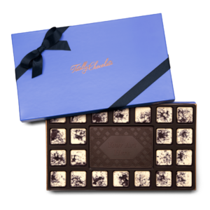 Personalized Signature Signature + Your Design 23 Piece Ensemble with Cookies & Cream Border, Dark Chocolate Center Bar in Signature Blue Packaging