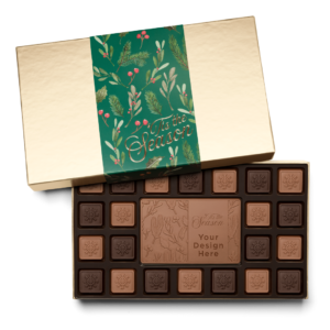 Personalized Holiday Holly & Pine 23 Piece Ensemble with Milk & Dark Chocolate Border, Milk Chocolate Center Bar in Gold Packaging