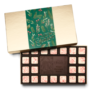 Personalized Holiday Holly & Pine 23 Piece Ensemble with Peppermint Bark Border, Dark Chocolate Center Bar in Gold Packaging