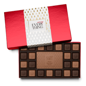 Personalized Holiday Modern Tree 23 Piece Ensemble with Milk & Dark Chocolate Border, Milk Chocolate Center Bar in Red Packaging