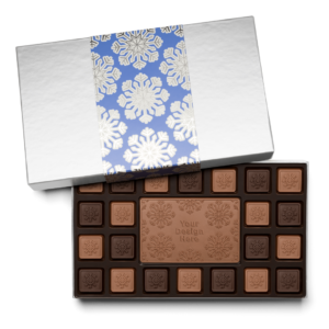 Personalized Holiday Shimmering Snowflake 23 Piece Ensemble with Milk & Dark Chocolate Border, Milk Chocolate Center Bar in Silver Packaging