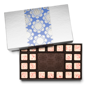 Personalized Holiday Shimmering Snowflake 23 Piece Ensemble with Peppermint Bark Border, Dark Chocolate Center Bar in Silver Packaging