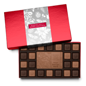 Personalized Holiday Silver Frost 23 Piece Ensemble with Milk & Dark Chocolate Border, Milk Chocolate Center Bar in Red Packaging