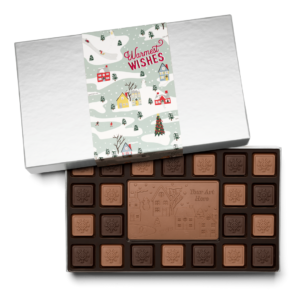 Personalized Holiday Winter Village 23 Piece Ensemble with Milk & Dark Chocolate Border, Milk Chocolate Center Bar in Silver Packaging