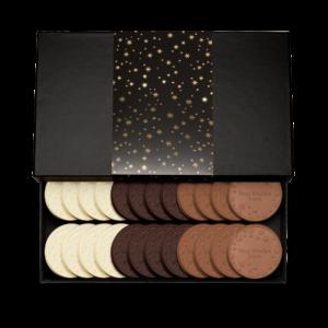 Personalized Appreciation Above & Beyond 24 Cookie Set with Cookies & Cream, Milk Chocolate, Dark Chocolate Cookies in Black Packaging
