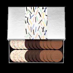 Personalized Birthday Big Birthday Wishes 24 Cookie Set with Cake & Sprinkles, Milk Chocolate, Dark Chocolate Cookies in Silver Packaging