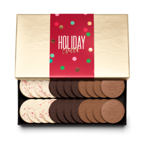 Personalized Holiday Cheers & Confetti 24 Cookie Set with Peppermint Bark, Milk Chocolate, Dark Chocolate Cookies in Gold Packaging