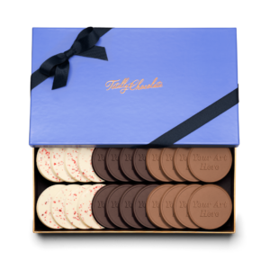 Personalized Signature Signature + Your Design 24 Cookie Set with Peppermint Bark, Milk Chocolate, Dark Chocolate Cookies in Signature Blue Packaging