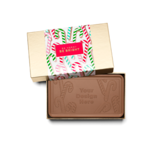 Personalized Holiday Candy Cane Milk Chocolate Grand Bar in Gold Packaging