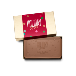 Personalized Holiday Cheers & Confetti Milk Chocolate Grand Bar in Gold Packaging