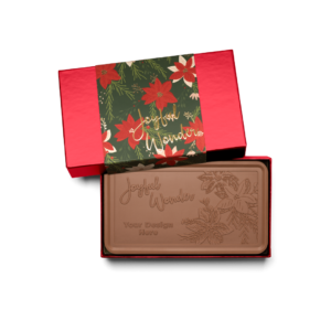 Personalized Holiday Crimson Poinsettia Milk Chocolate Grand Bar in Red Packaging