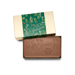 Personalized Holiday Holly & Pine Milk Chocolate Grand Bar in Gold Packaging