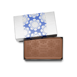 Personalized Holiday Shimmering Snowflake Milk Chocolate Grand Bar in Silver Packaging