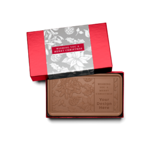 Personalized Holiday Silver Frost Milk Chocolate Grand Bar in Red Packaging