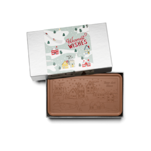 Personalized Holiday Winter Village Milk Chocolate Grand Bar in Silver Packaging
