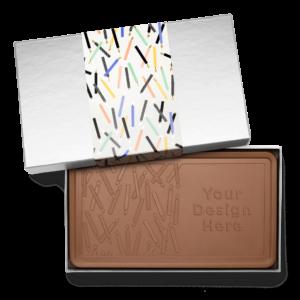 Personalized Birthday Big Birthday Wishes Milk Chocolate Indulgent Bar in Silver Packaging