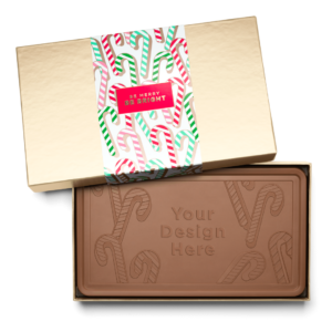 Personalized Holiday Candy Cane Milk Chocolate Indulgent Bar in Gold Packaging