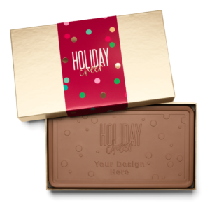 Personalized Holiday Cheers & Confetti Milk Chocolate Indulgent Bar in Gold Packaging
