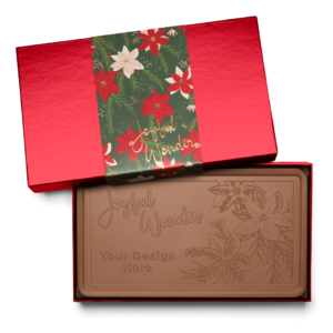 Personalized Holiday Crimson Poinsettia Milk Chocolate Indulgent Bar in Red Packaging