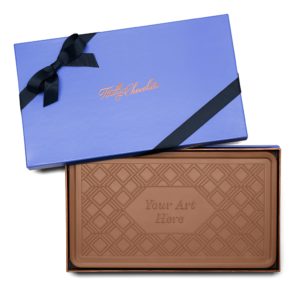 Personalized Signature Holidays Milk Chocolate Indulgent Bar in Signature Blue Packaging