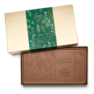 Personalized Holiday Holly & Pine Milk Chocolate Indulgent Bar in Gold Packaging