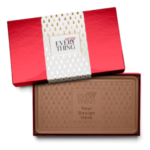 Personalized Holiday Modern Tree Milk Chocolate Indulgent Bar in Red Packaging