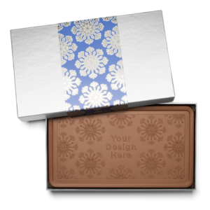 Personalized Holiday Shimmering Snowflake Milk Chocolate Indulgent Bar in Silver Packaging