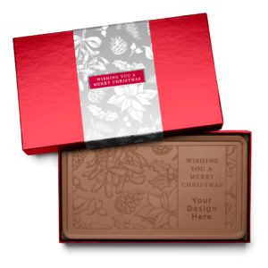Personalized Holiday Silver Frost Milk Chocolate Indulgent Bar in Red Packaging