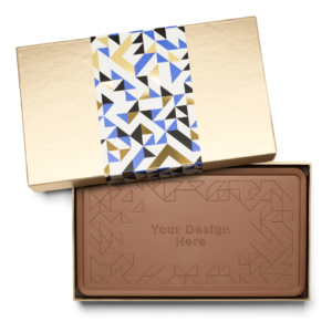 Personalized Thank You Thank You Milk Chocolate Indulgent Bar in Gold Packaging