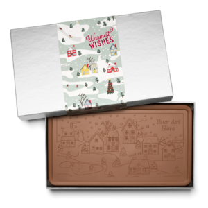 Personalized Holiday Winter Village Milk Chocolate Indulgent Bar in Silver Packaging