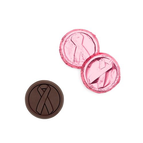 Customized breast cancer chocolate coins