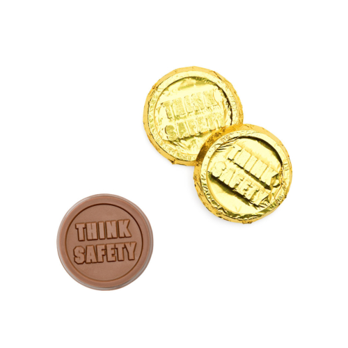 Think safety words are designed on chocolate coins