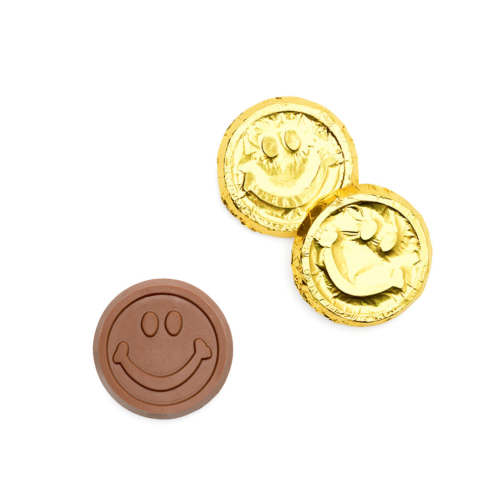 we can customized your chocolate coins with smiley face