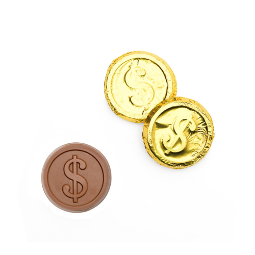 dollar can designed or customized on the chocolate coins