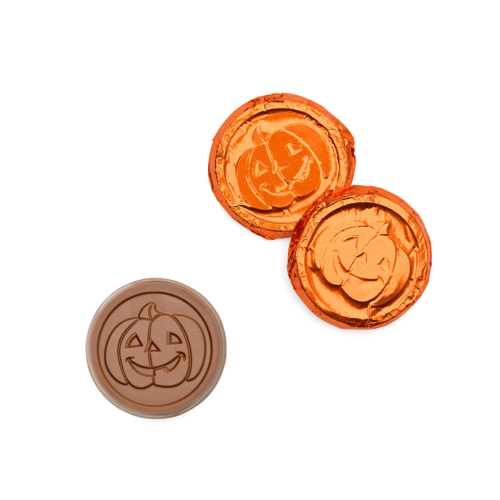 If you are celebrate for Halloween then you will need these personalized chocolate coins with pumpkin kin wrap