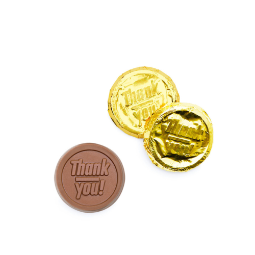 chocolate coins that with thank you letter on it