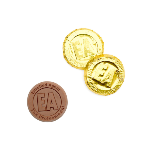 Gold custom chocolate coins with EA letter on it